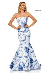 52618 Ivory/Blue Print front