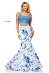 52622 Blue/Ivory Print front