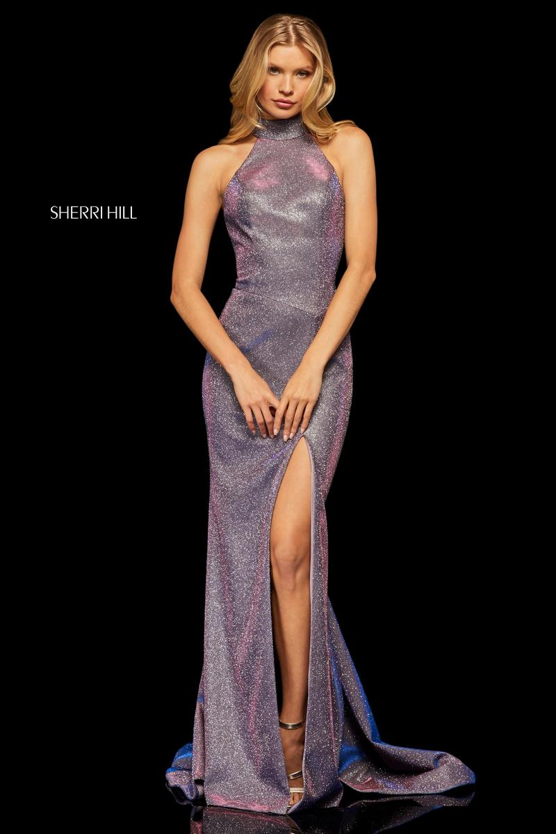 Purple Knee Length Dress Sherri Hill