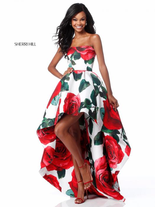 Sherri Hill - Satin Print High Low Gown