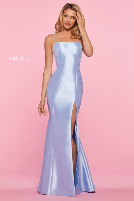 Sherri Hill - Satin Spaghetti Strap Open Back Gown