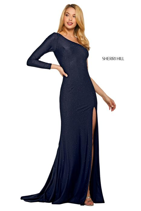 Sherri Hill - Jersey Beaded One Long Sleeve Gown