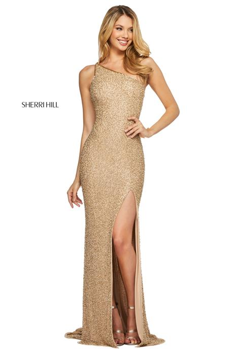 Sherri Hill - Mesh Beaded One Shoulder Gown