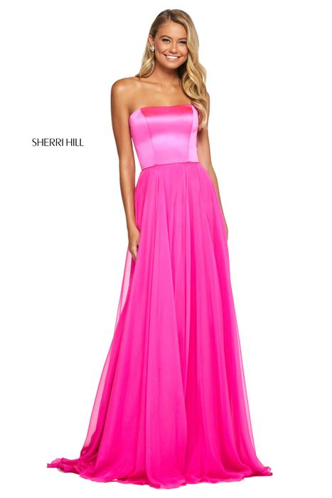 Sherri Hill - Satin Strapless Criss Cross Gown