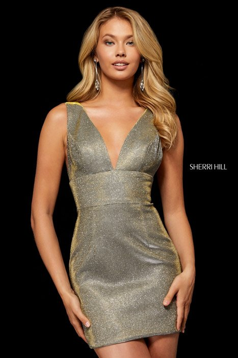 Sherri Hill Glitter Stretch Deep V Dress