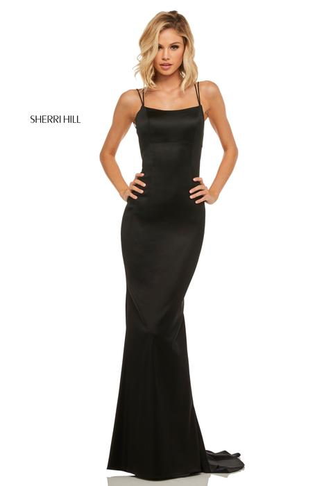 Sherri Hill - Satin Gown Spaghetti Strap Double X Back