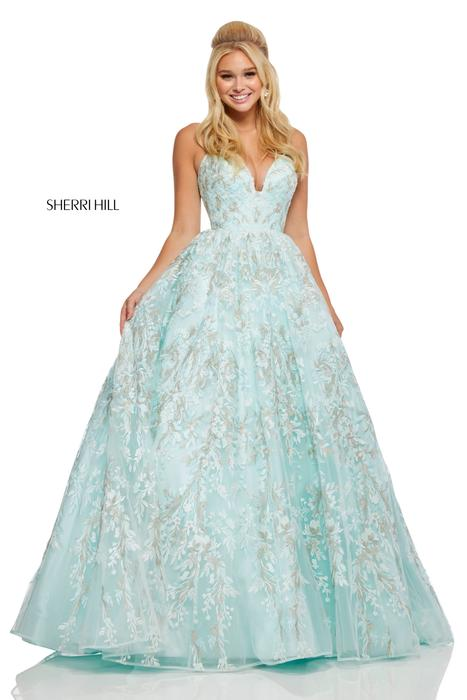 Sherri Hill - Embroidered Ball Gown Deep Sweetheart Neckline