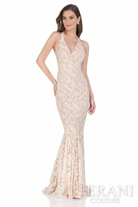 Terani - Embroidered V-Neck Sheath Gown