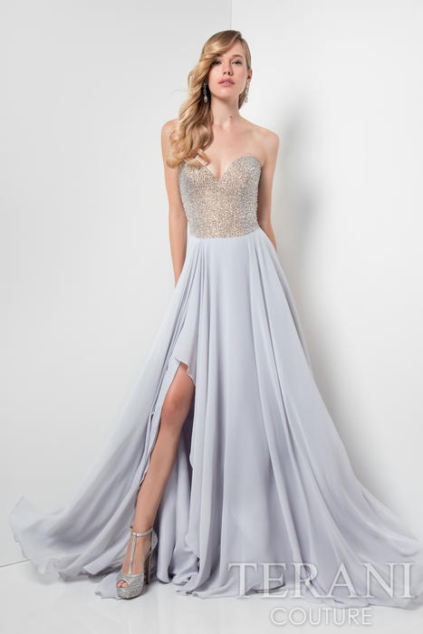 Terani - Strapless Beaded Chiffon