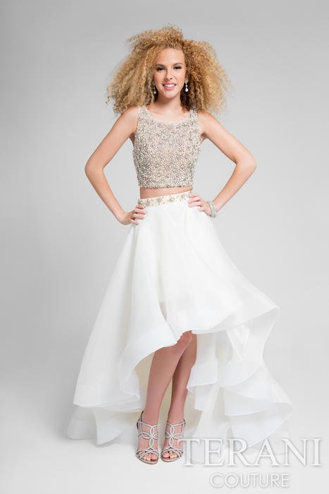 Terani - Two-Piece Beaded High-Low Gown