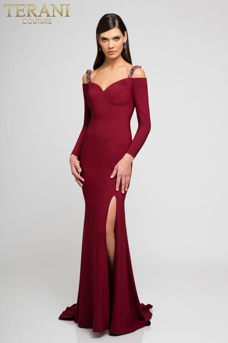 Terani - Beaded Cold Shoulder Jersey Gown