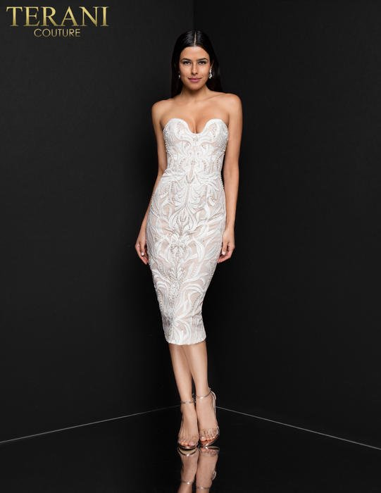 Terani - Strapless Embroidered Bead Dress