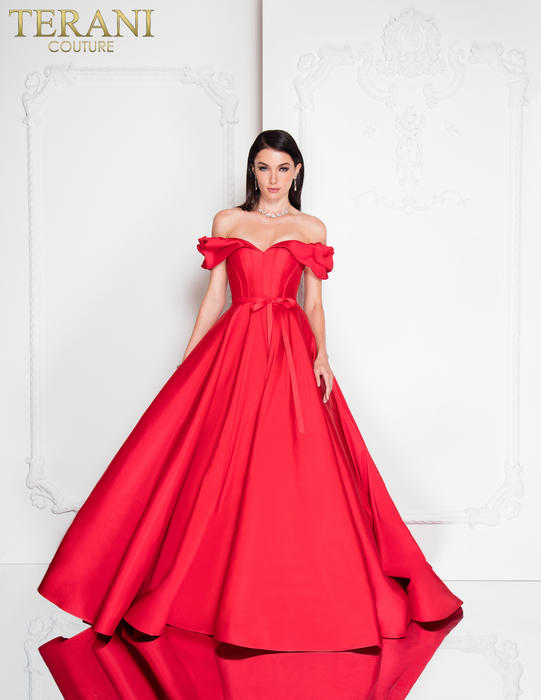 Terani - Satin Off-the-Shoulder Ball Gown
