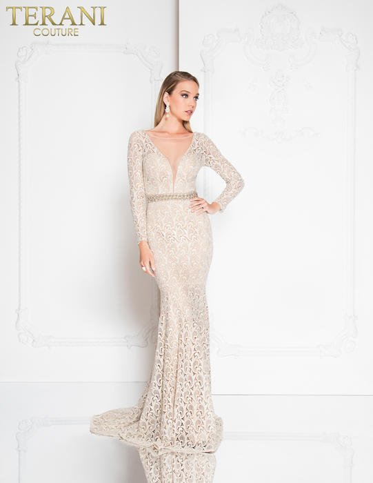 Terani - Embroidered Metallic Gown Beaded Waist