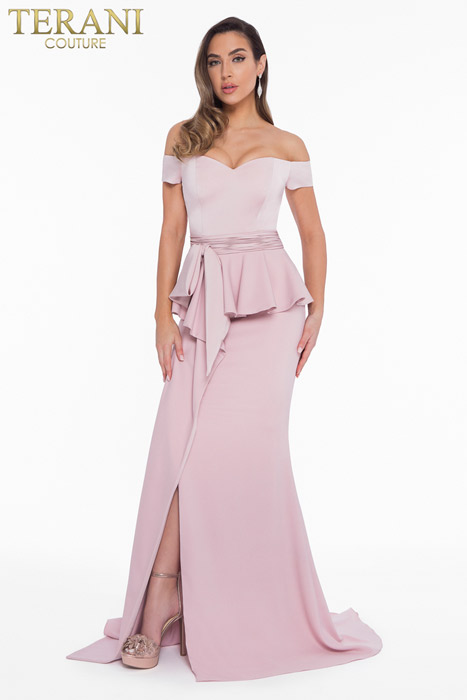 Terani - Off Shoulder Peplum Gown