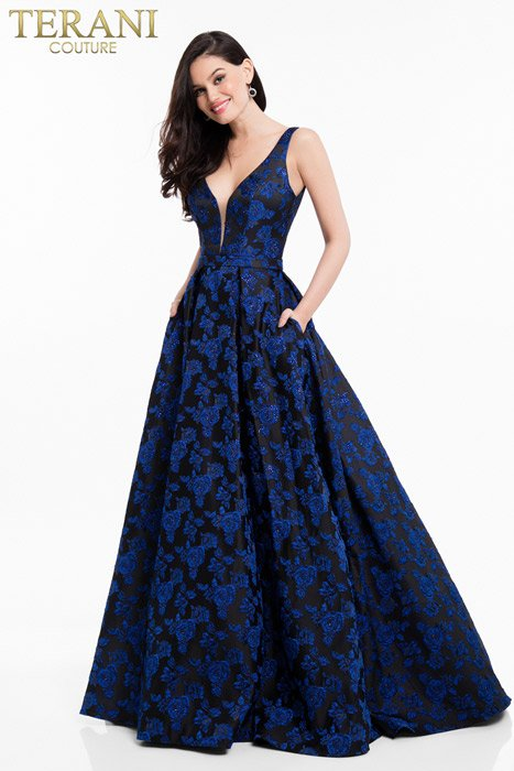 Terani - Satin Brocade Beaded Ball Gown