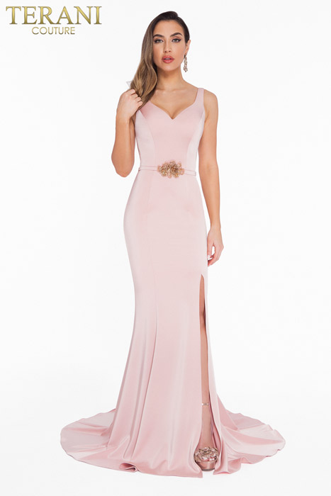 Terani - Beaded Two Piece Neck Gown with Cape
