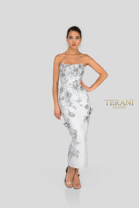 Terani - Metallic Jacquard 3D Flower Dress