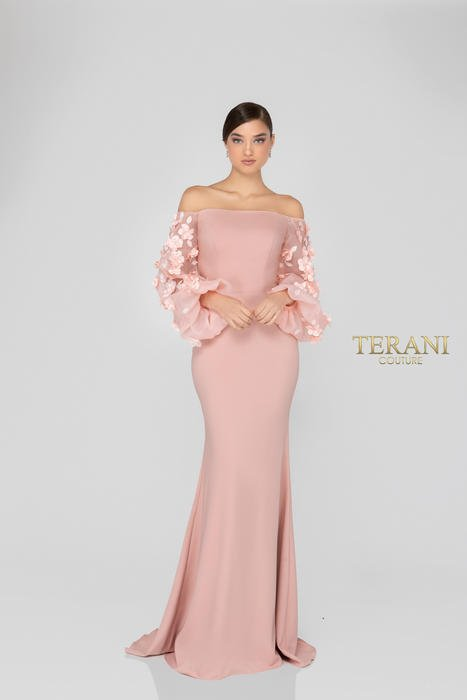 Terani - Long Sleeve Off-the-Shoulder 3D Sleeved Gown