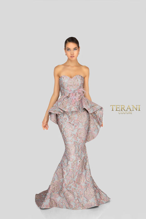 Terani - Metallic Brocade Feathered Gown