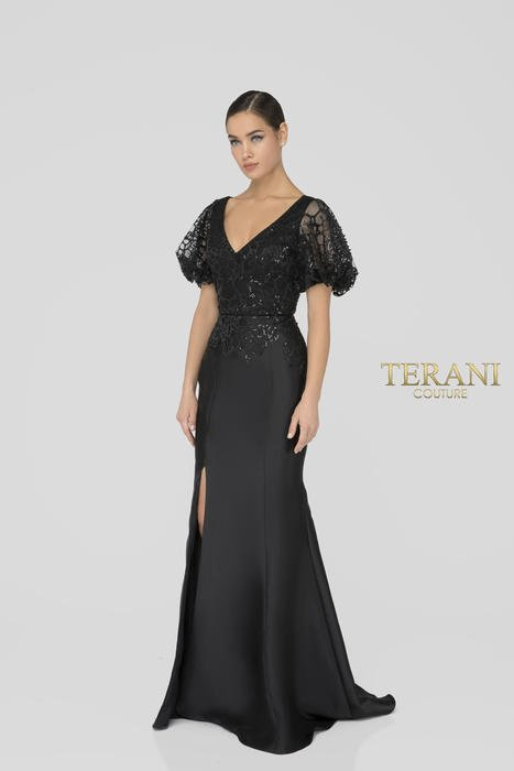 Terani - Beaded Short Sleeve Satin Gown