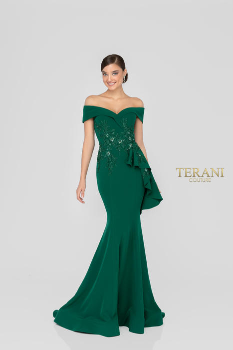 Terani - Crepe Off-the-Shoulder Embroidered Gown