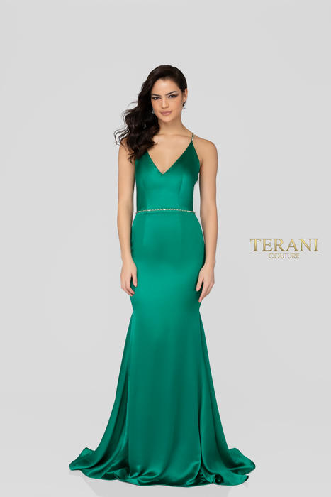 Terani - Satin Beaded Spaghetti Strap Low Back Gown