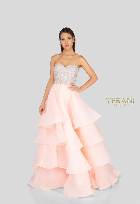 Terani - Satin Strapless Beaded Bodice Gown