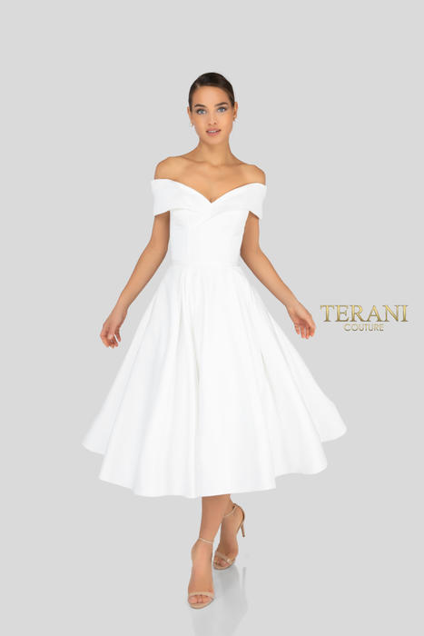 Terani - Satin Off-the-Shoulder Fit and Flare Dress