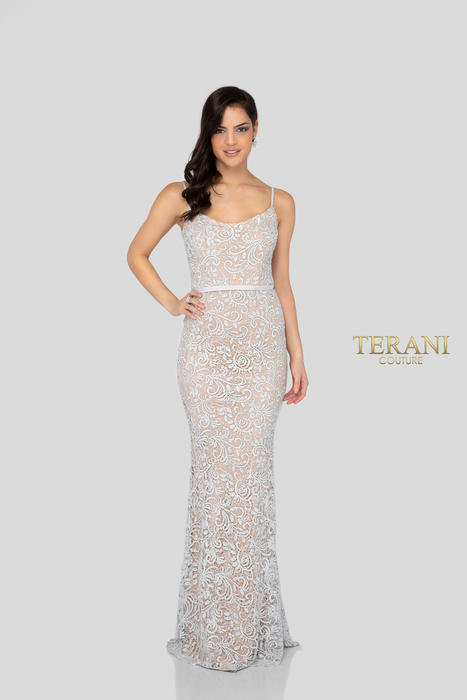Terani - Metallic Lace Embellished Gown