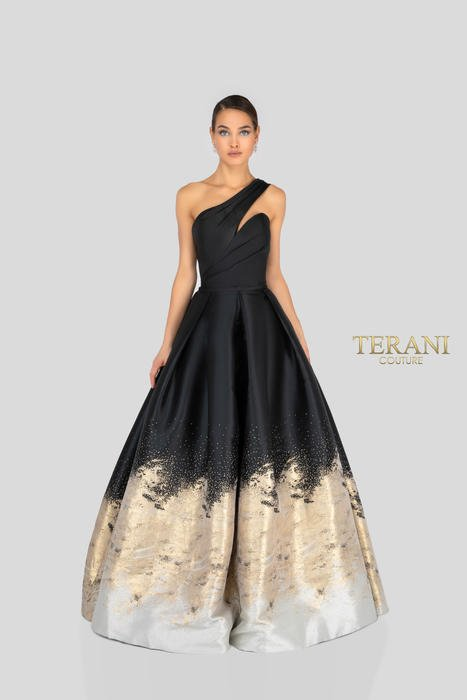 Terani - One Shoulder Sweetheart Neckline Gown