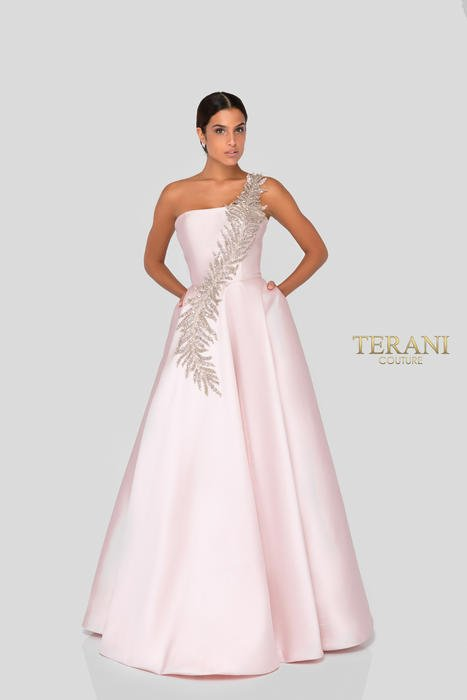 Terani - Satin Ballgown Feather Design