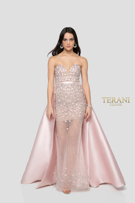 Terani - Tulle Strapless Sequin Gown with Satin Skirt