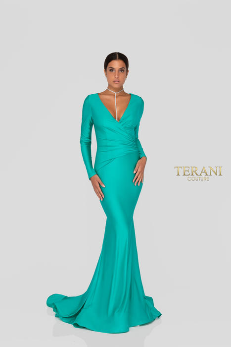 Terani - Long Sleeve Satin Gown
