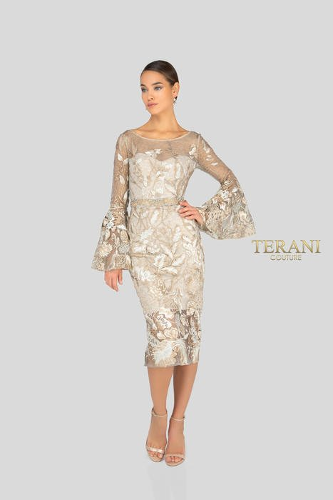 Terani - Embroidered Dress Long Bell Sleeve