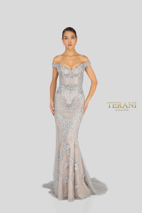 Terani - Jewel Encrusted Off-the-Shoulder Gown