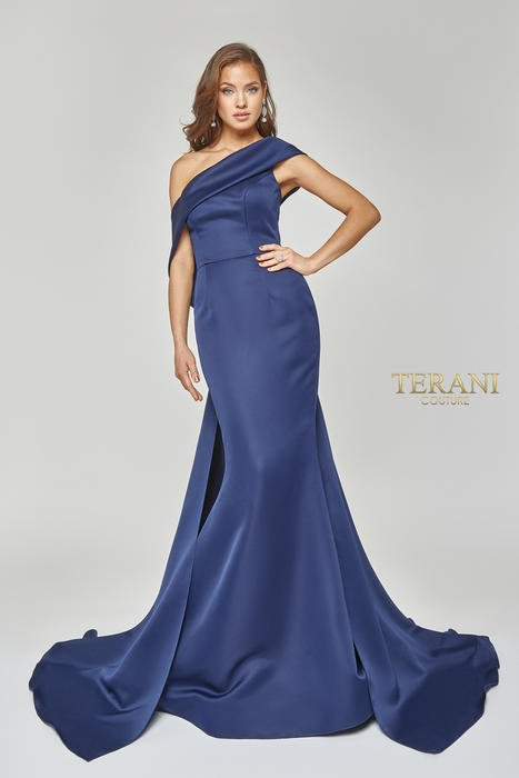 Terani - Off-the-Shoulder Matte Satin Gown