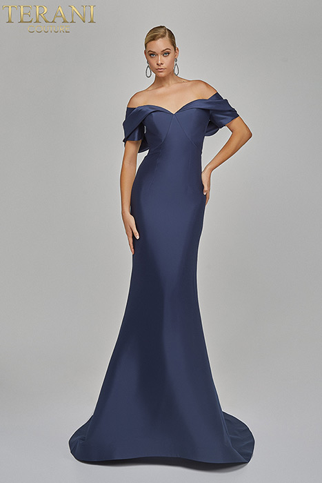 Terani - Off-the-Shoulder Collar Draped Gown