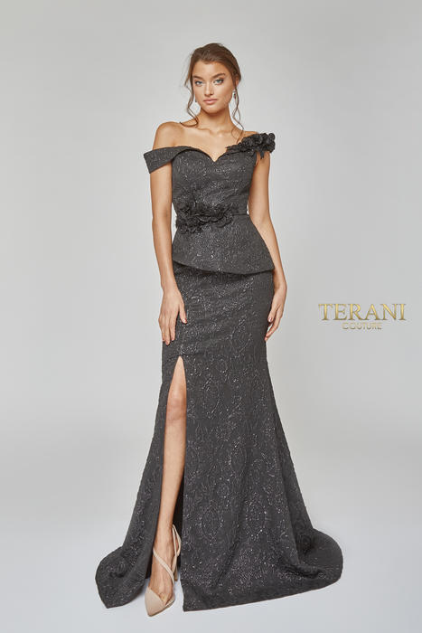 Terani - Jacquard Off-the-Shoulder 3D Flowered Gown