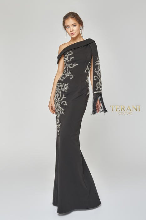 Terani - Asymmetrical Off-the-Shoulder Gown