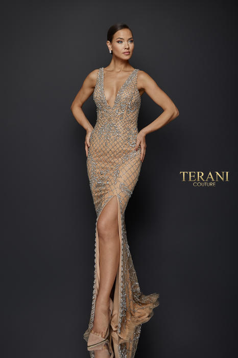 Terani - Embellished Deep V-Neck Gown