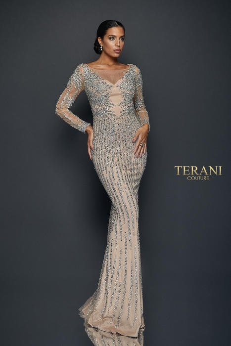 Terani - Long Sleeve Crystal Striped Illusion Gown