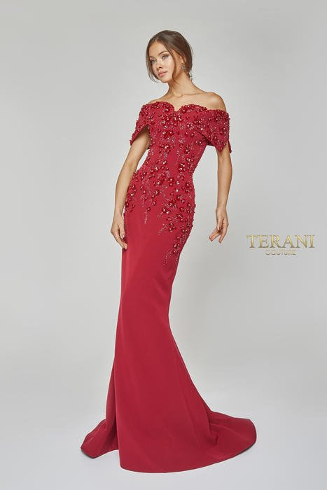 Terani - Crepe Sweetheart Off-the-Shoulder Gown