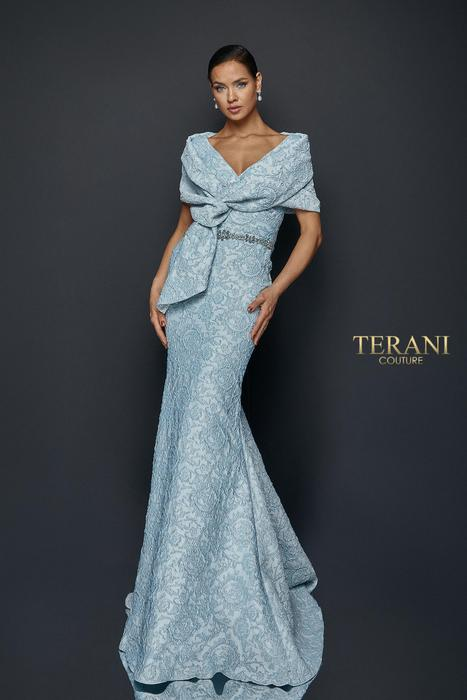 Terani - Jacquard Draped Off-the-Shoulder Gown