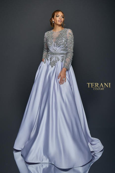 Terani - Satin Beaded Long Sleeve Ballgown