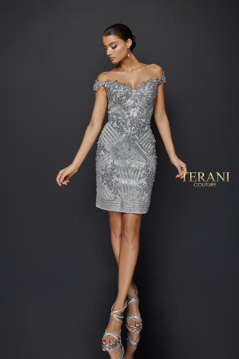Terani - Off-the-Shoulder Lace Cocktail Dress