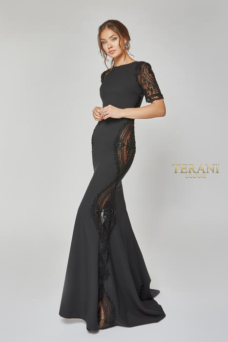 Terani - Short Sleeve Beaded Paneled Gown
