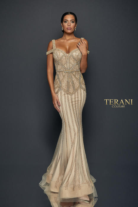 Terani - 2 Strap Fully Beaded Gown