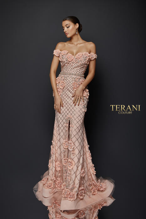 Terani - Off-the-Shoulder Floral Gown