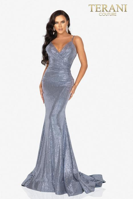 Terani - Metallic Wrap Waist Gown